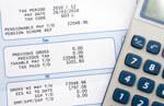calculator and a bill
