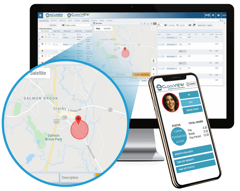 acumen web time clock with GPS
